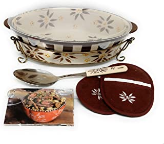 Temp-tations 3 Quart Baker Oval Casserole Dish w/Plastic Cover, 2 Oven Mitts, Serving Spoon, Recipe Cards, Wire Rack (Old ...