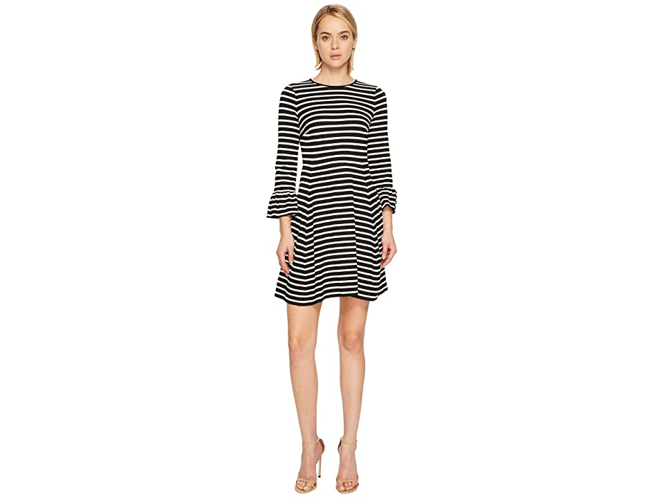 Kate Spade New York Stripe Ponte Fit and Flare Dress (Black/Off-White) Women