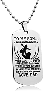 LITTONE Love Gift to My Son Dog Tags from Dad Boy You are Braver Necklaces Air Force Pendants Military Chains - LNH9486#
