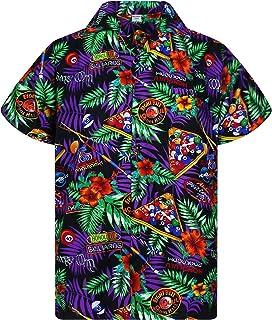 V.H.O Funky Hawaiian Shirt Men Short-Sleeve Front-Pocket Pool Billiards Multi-Black