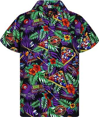Original King Kameha | Funky Camisa Hawaiana Señores | XS-6XL |Manga Corta Bolsillo Delantero | impresión De Hawaii| PoolBillard |Negro