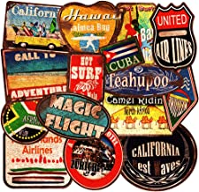 Honch Vinyl Vintage Beach Style Stickers Retro Travel City Country Stickers 36 Pcs Suitcase Sticker Pack Decals for Laptop Bumper Ipad Helmet Track Car Luggage Water Bottle