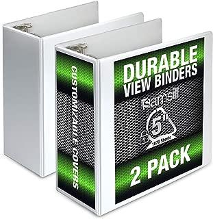 Samsill Durable 5 Inch Binder White D-Ring Binder/Customizable Clear View Binder/Bulk Binder 2 Pack/White 3 Ring Binder 5 inch