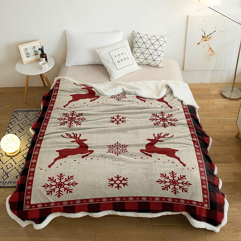 Free shipping on posting reviews mart Yun Nist Sherpa Fleece Throw Si Deer Christmas Blanket Snowflake