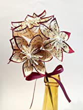 5 I Love You Paper Flowers- Ready To Ship, handmade anniversary gift, wedding decor, origami, small bouquet