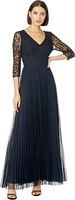 3/4 Sleeve Beaded Evening Gown