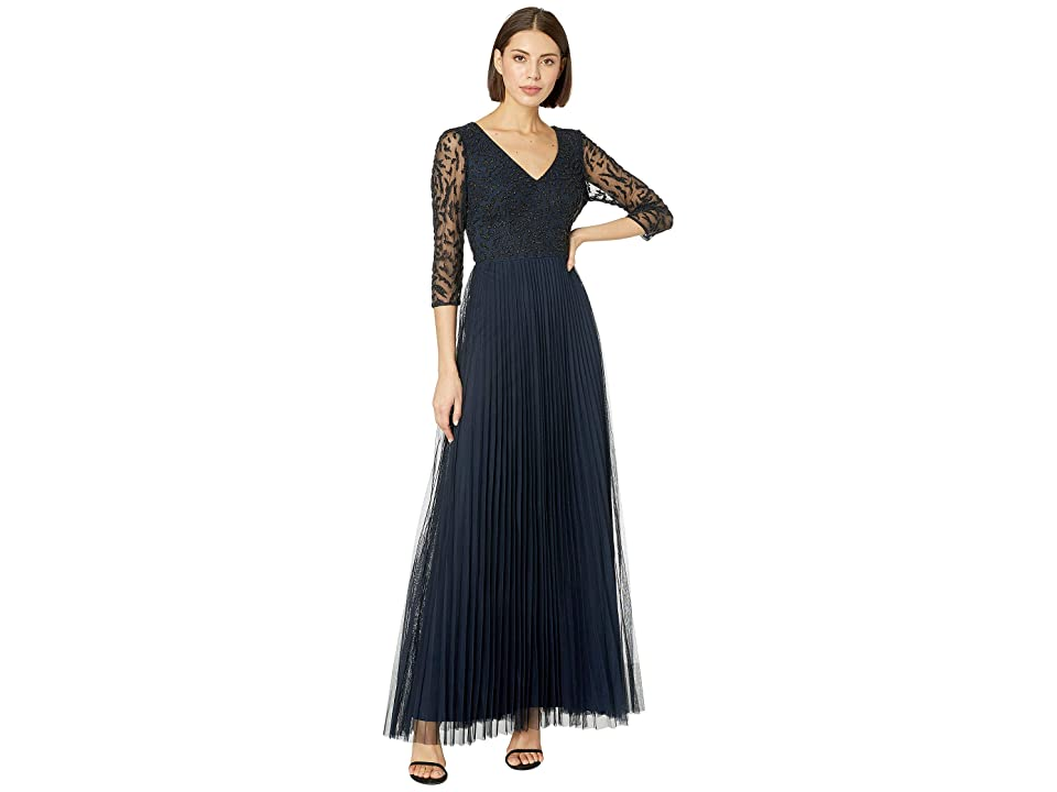 Image of Adrianna Papell 3/4 Sleeve Beaded Evening Gown (Midnight) Women's Dress