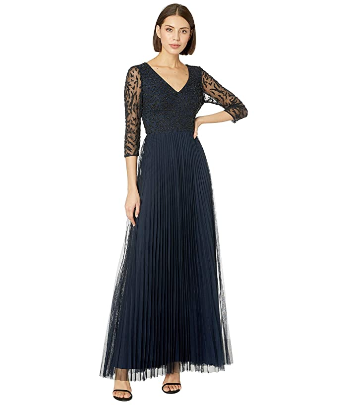 Adrianna Papell 3/4 Sleeve Beaded Evening Gown (Midnight) Women
