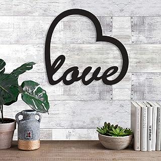 Art Street Love Wall Sign, Wall Plaque, MDF Cutout Wood Wall Art (6 mm, Black)