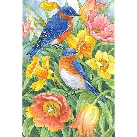 Amazon Com Toland Home Garden Eastern Bluebirds 28 X 40 Inch Decorative Spring Summer Bird Orange Flower House Flag Garden Outdoor