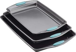 Rachael Ray 47576 3-Piece Cookie Pan Steel Baking Sheet Set Gray/Agave Blue