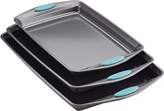 Rachael Ray 47576 Nonstick Bakeware Set with Grips, Nonstick Cookie Sheets/Baking Sheets - 3 Piece, Gray with Agave Blue G...