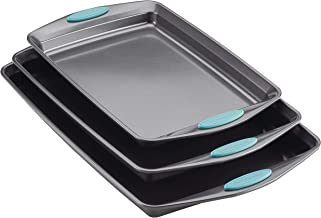 Rachael Ray 47576 Nonstick Bakeware Set with Grips, Nonstick Cookie Sheets / Baking Sheets - 3 Piece, Gray with Agave Blue Grips