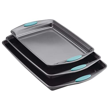 Rachael Ray 47576 Bakeware Set Nonstick Cookie Baking Sheets, 3 Piece, Gray with Agave Blue Grips