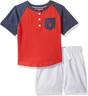 U.S. Polo Assn. Boys SV89 Short Sleeve Henley T-Shirt and Pull-on Short Shorts Set - Multi
