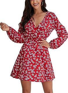 Choha Womens Long Sleeve V Neck Dress Floral Wrap Mini Swing Party Dress