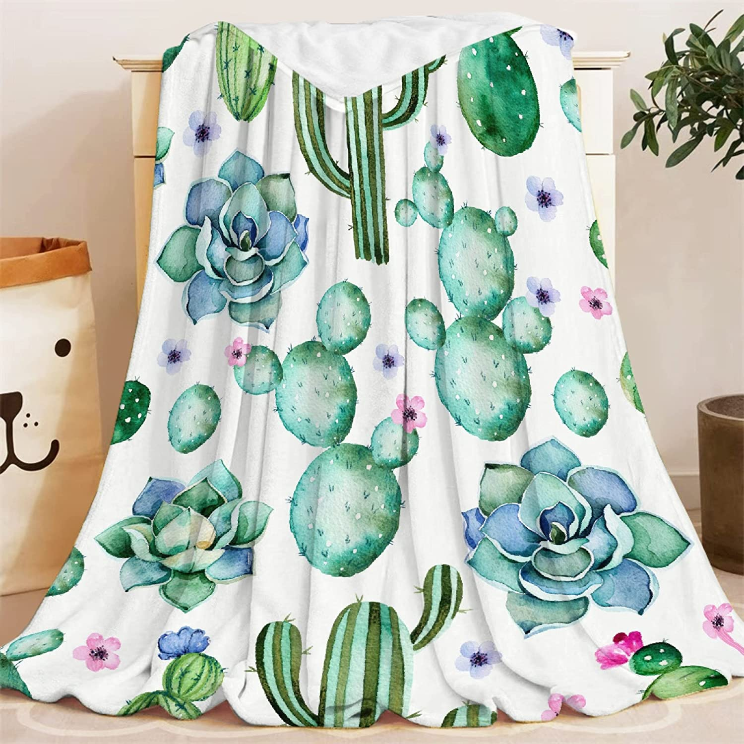 Sale price Fashionable Blanket Cactus Flower Succulent Gifts Throws Soft Super Lightwei