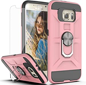 Galaxy S6 Case,Galaxy S6 Phone Case with HD Screen Protector YmhxcY 360 Degree Rotating Ring Kickstand Holder Dual Layers of Shockproof Phone Case for Samsung Galaxy S6 S VI G9200 GS6-ZS Rose Gold