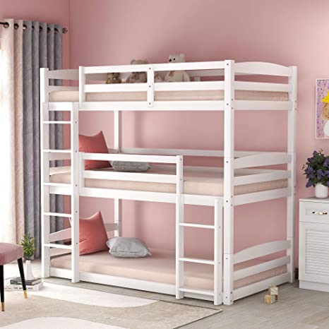 Amazon Com Triple Twin Bunk Bed For Kids Detachable 3 Bed Twin Over Twin Bunk Bed Frame Wood Kitchen Dining