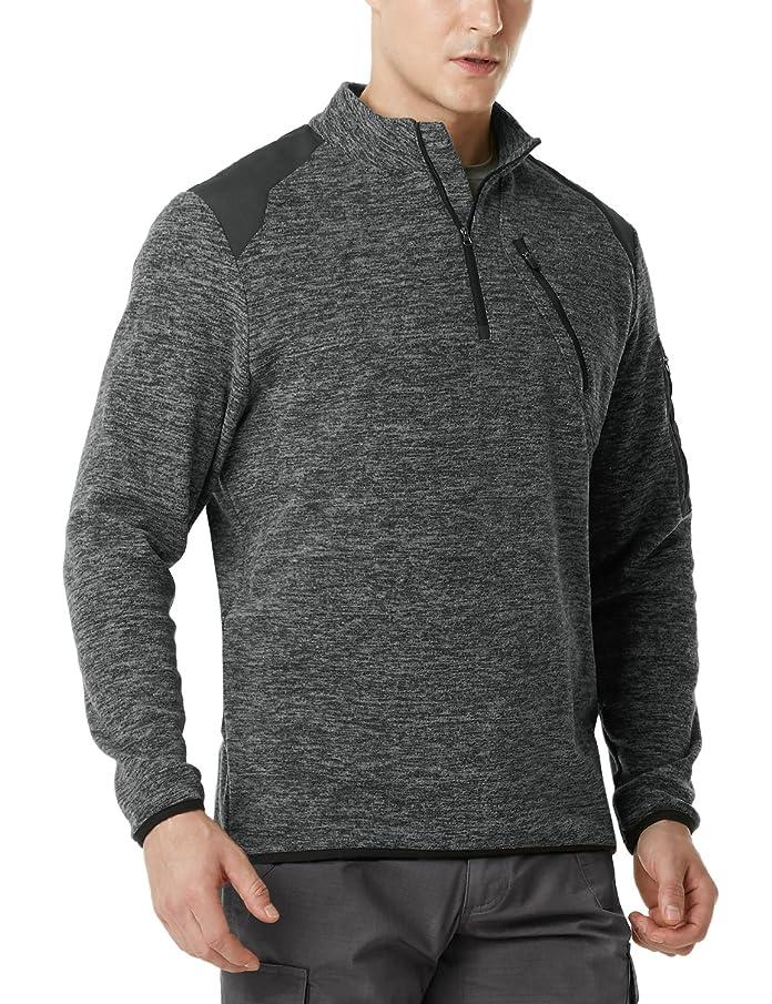 CQR Men's Tactical 1/4 Zip Fleece Military Outdoor Army Sport Slim Fit Sweatshirt HKZ01