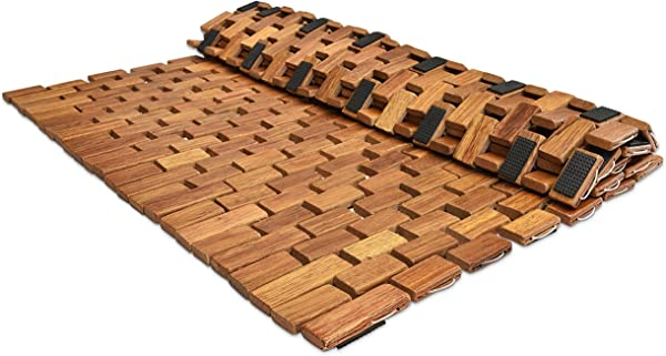 Large Folding Teak Bath Mat With Non Slip Grips Mildew Resistant Teak Shower Mat Treated With Natural Teak Oil Made In Indonesia With Legally Sourced Wood 27 5 X19 5