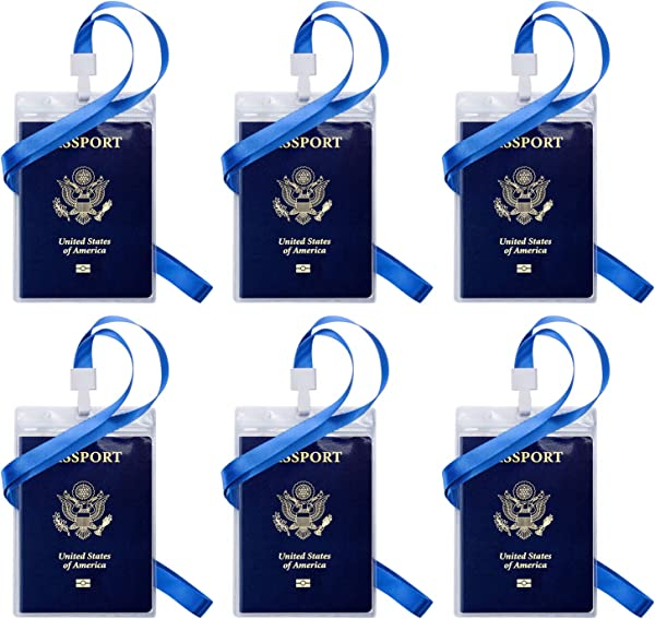Passport ID Badge Holders OUSL 6 Pack 4 25x6 38 Inch Vertical PVC Waterproof Name Tag Barcode Card Holder With Lanyards
