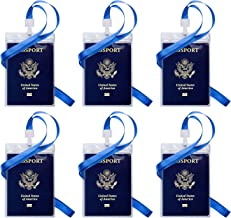 Passport ID Badge Holders, OUSL 6 Pack 4.25x6.38 Inch Vertical PVC Waterproof Name Tag Barcode Card Holder with Lanyards