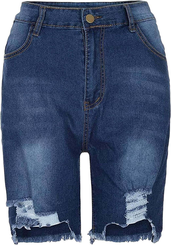 Womens Ripped Bermuda Denim Shorts Plus Size Frayed Knee Length Jean Shorts High Waisted Stretchy Raw Hem Short Jeans