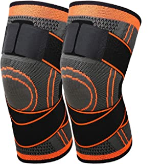 VEEMOS 2 Pack Knee Brace Compression Sleeve with Strap for Support & Pain Relief for Meniscus Tear (Orange)