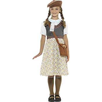 School Girl WW2 Wartime World War Blue Girls Childs Kids Fancy Dress Costume