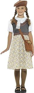 Smiffy'S 22483S Disfraz De Colegiala Refugiada De La 2A Guerra Mundial Para Chica, Gris, S - Edad 4-6 Años