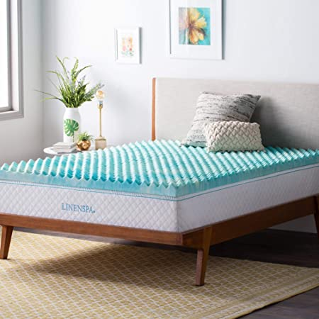 Amazon Com Linenspa 3 Inch Convoluted Gel Swirl Memory Foam Mattress Topper Promotes Airflow Relieves Pressure Points King Home Kitchen