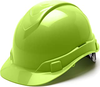 Pyramex Ridgeline Cap Style Hard Hat, 6-Point Ratchet Suspension, Hi-Vis Lime