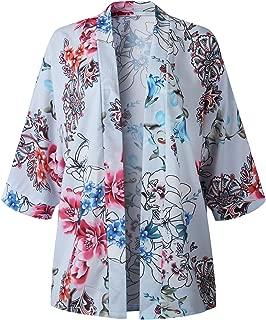 SZIVYSHI 3/4 Sleeve Kimono Sleeve Floral Loose Fit Chiffon Beach Cover Up Cardigan Blouse Shirt Top