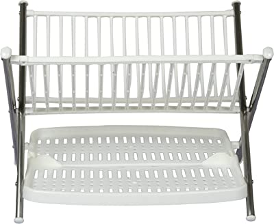 Haneez® Two-Tier Stainless Steel and Plastic Dish Rack with Cutlery Rack Drain Water After Washing of Plates, Cups, Bowls etc