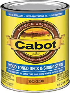 Cabot 140.0003002.005 Wood Toned Deck & Siding Stain, Quart, Cedar