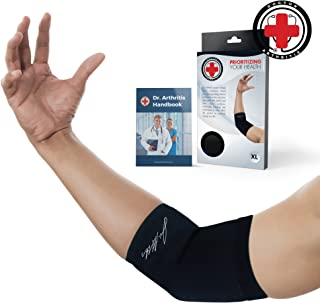 Doctor Developed Copper Elbow Brace & Elbow Support Sleeve and Doctor Written Handbook —Guaranteed Relief for Tennis Elbow, Golfers Elbow, Arthritis, Elbow Compression & Support (S)