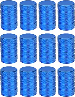 Sunmns 12 Pack Aluminium Tire Stem Valve Caps Air Cover for Car Motorcycle Bike (Blue)