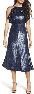 Illuminated Sequin Ruffle Midi Dress
