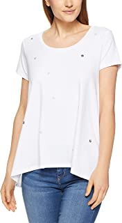 French Connection Women's Sequin SPOT Curved Hem TEE, Summer White/Multi