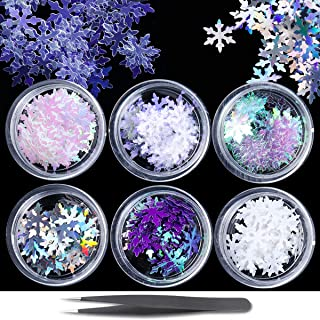 6 Boxes Christmas Snowflake Sequins Nail Art Glitter Ultrathin Winter Holographic Nail Sequins 3D Sparkly DIY Manicure Set...