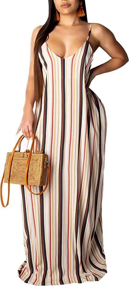 SheKiss Women's Casual Sexy Summer Stripe Bodycon Long Maxi Dresses Floor Length Sleeveless Plus Size Sundresses