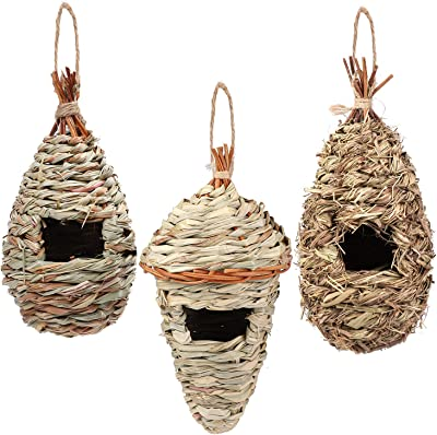 Aneco 3 Pack Hanging Hummingbird House Natural Hand Woven Birdhouse Outside Grass Hanging Bird Hut, 3 Styles