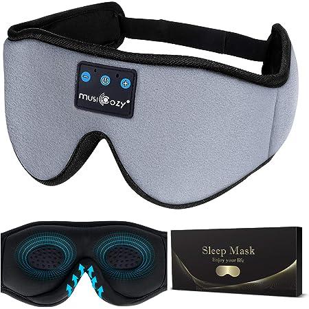 MUSICOZY Sleep Headphones 3D Bluetooth 5.0 Headband Noise Cancelling Sleeping Headphones, Wireless Music Eye Sleep Mask Earbuds for Side Sleepers, Air Travel, Ultra Soft Thin Speakers Microphones