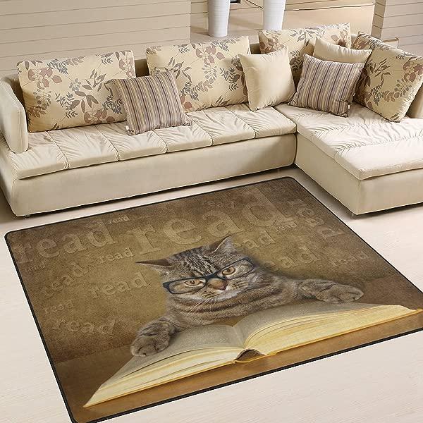 ALAZA 逗猫小猫阅读区地毯客厅卧室地毯 5 3X4