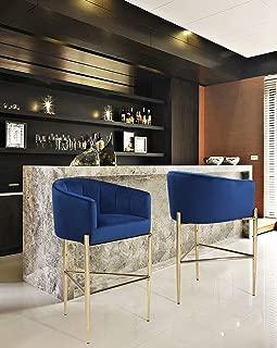 Iconic Home Cyrene Bar Stool Chair Velvet Upholstered Shelter Arm Shell Design 3 Legged Gold Tone Solid Metal Base Modern Contemporary, NAVY