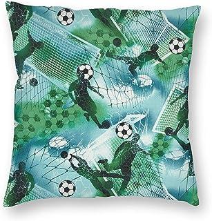 Deportes fútbol niño fútbol Azul Verde Cuadrado Tiro Cintura Funda de Almohada Decorativa Funda de cojín Funda de Almohada sofá 18