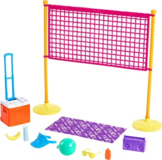 Barbie Loves The Ocean Beach-Themed Playset, with Volleyball Net & Accessories, Made from Recycled Plastics, Gift for 3 to 7 Year Olds