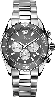 Accurist Mens Stainless Steel Japanese Quartz Sports Chronograph Watch With Push Button Safety Clasp, Rotating Bezel, 100m...