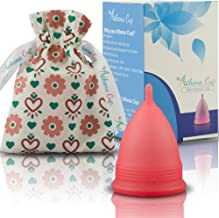 Athena Menstrual Cups Period Cup - One Pack | Regular Flow | Transparent Red Size 2 Large | A Softer Menstruation Cup Made for Easier Periods | Excellent Tampon and Pad Alternative